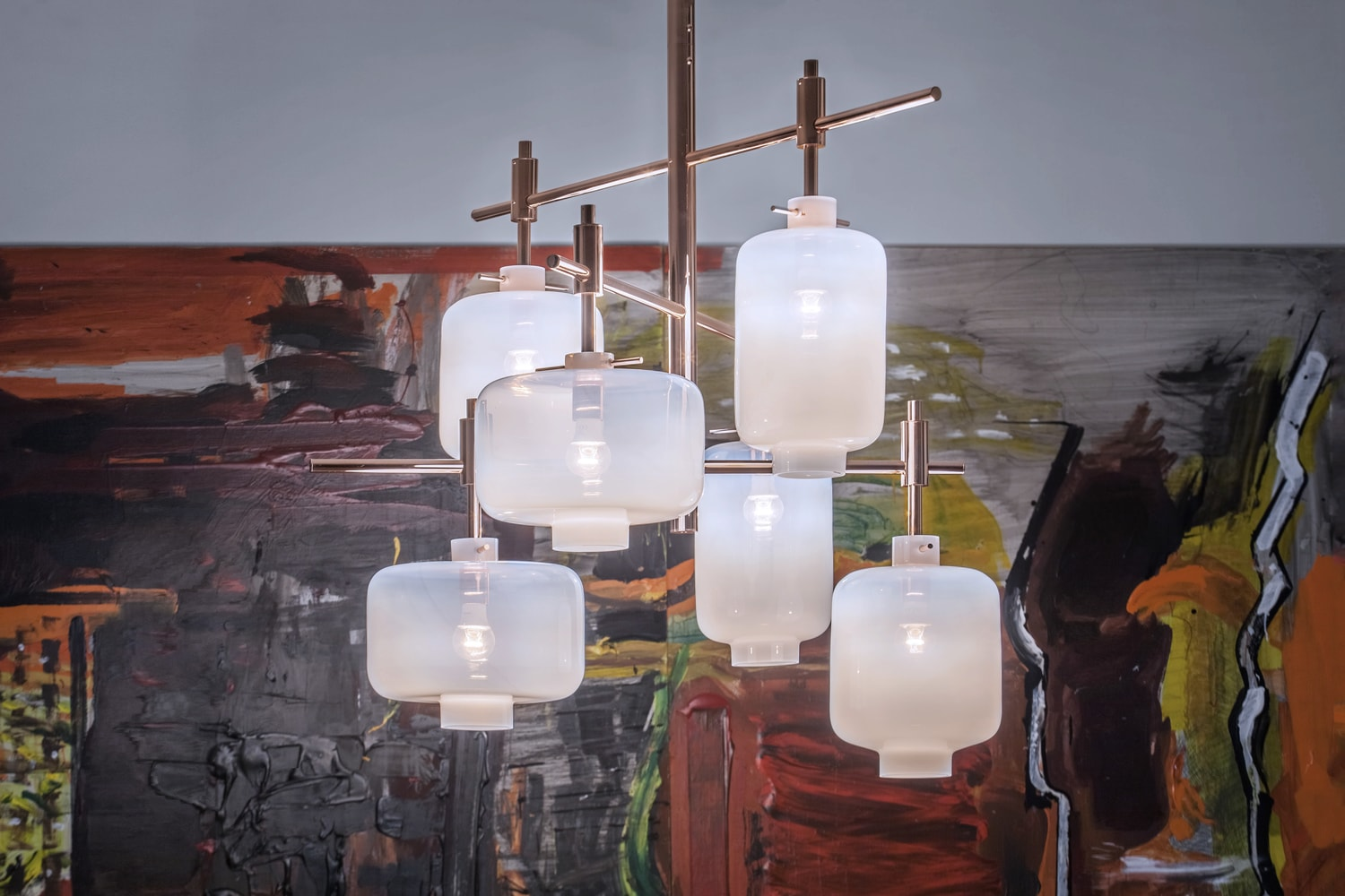 Site-specific lighting object for a private residence in Prague. Made of copper and opal glass. Designed and crafted in Czech Republic. Designed by Rony Plesl in cooperation with Jiri Krejcirik.