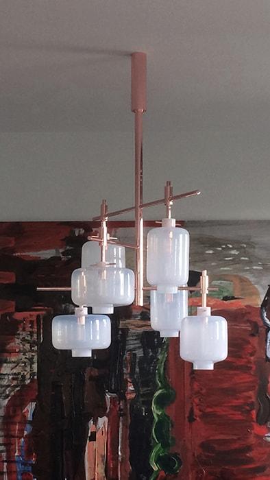 lampions copper glass hand made site specific lighting object chandelier private house prague měď sklo ruční výroba svítidlo lustr objekt privátní dům praha design rony plesl and jiri krejcirik