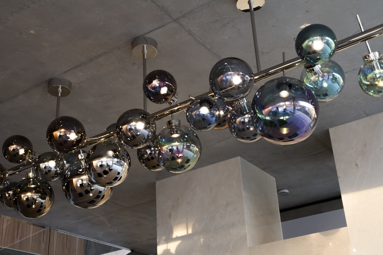 bilberry lighting object chandelier site specific glass installation bomma czechglass metalcoated handmade object svítidlo lustr české sklo jiri krejcirik