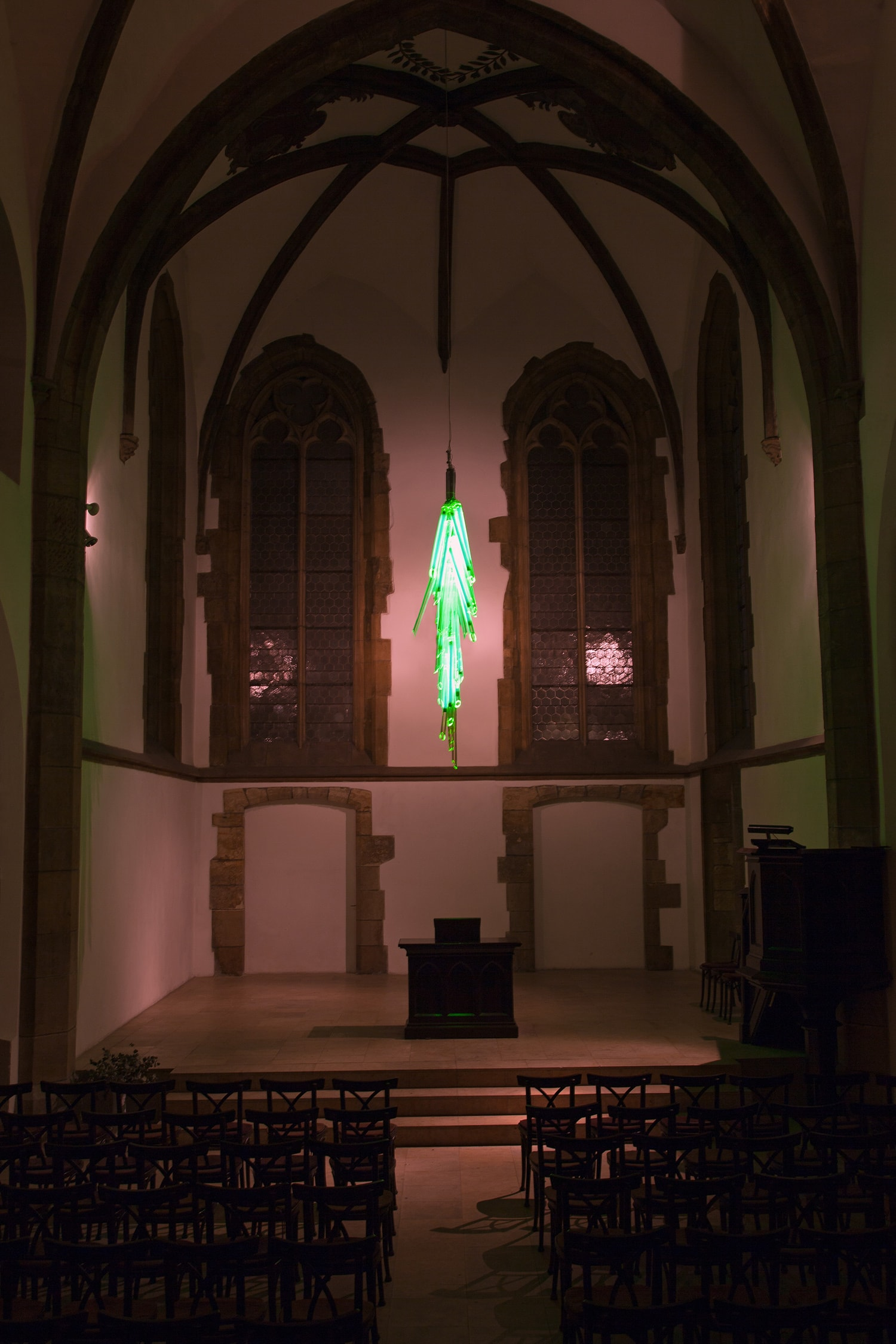 uran site specific installation lighting saint martin church designed by rony plesl in cooperation with jiri krejcirik