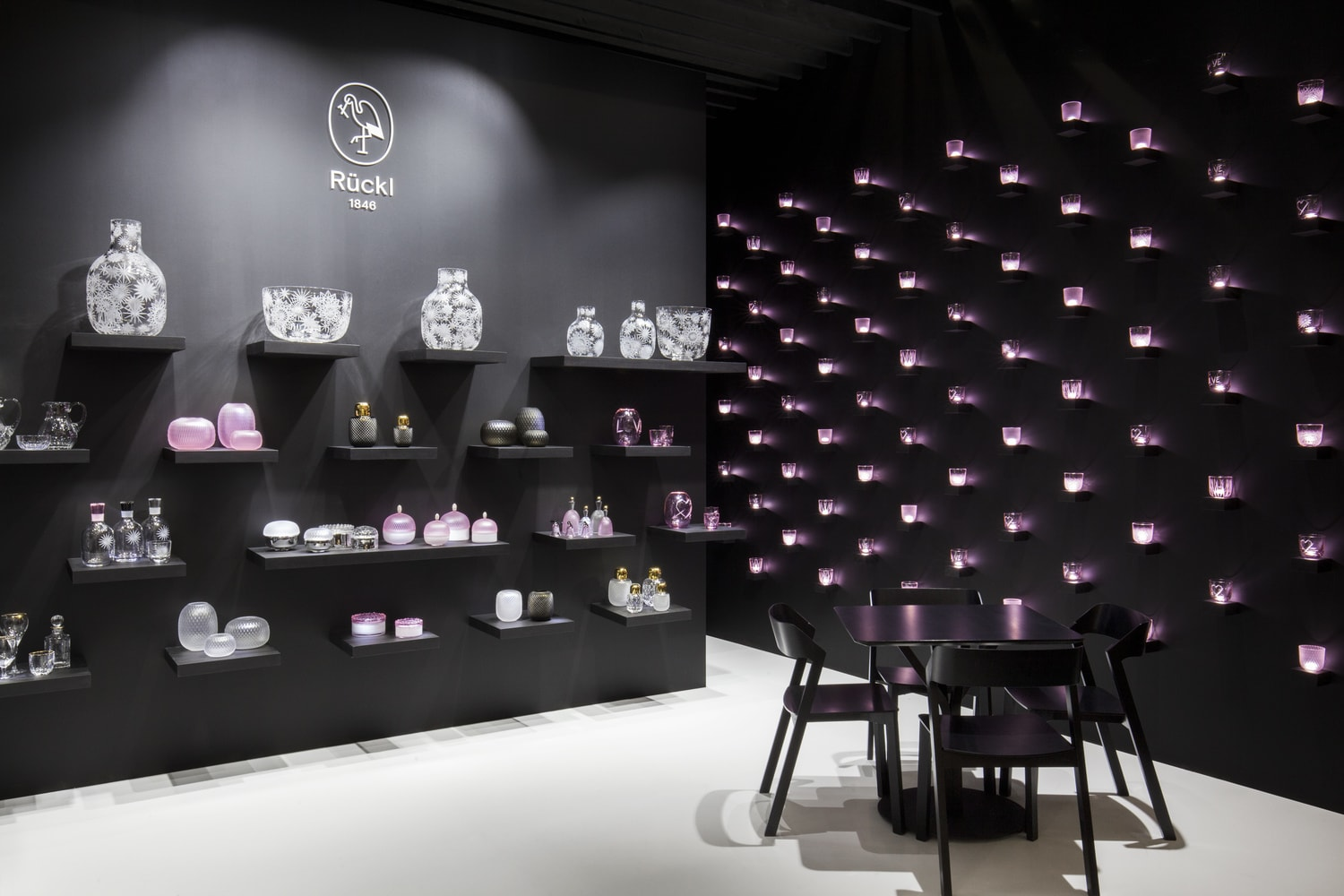 The exhibition stand forRückl Crystal at the Ambiente Fair Frankfurt 2018.Rücklis a Bohemian glass factory founded in 1846 in Nižbor, specialised in glassware. Designed by Jiri Krejcirik.