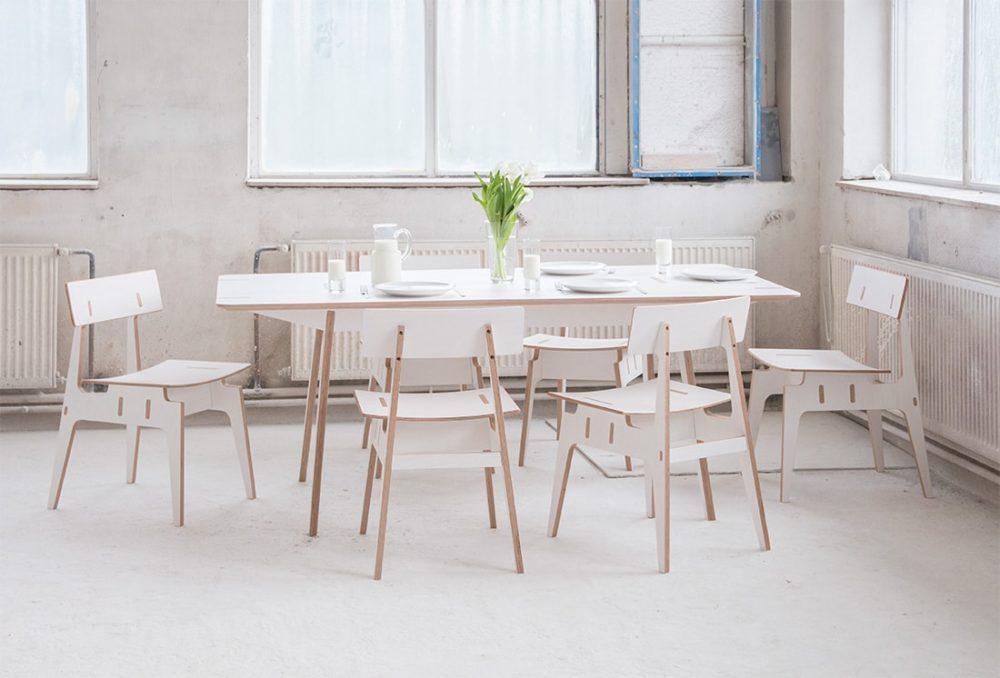 langskip leidangskip furniture plywood dining table chairs nábytek překližka multiplex jídelní stůl židle design jiri krejcirik