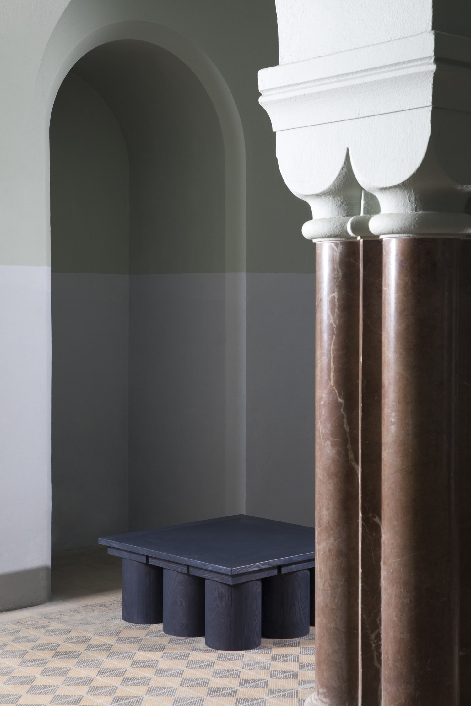 veltrusy mansion sculptural low table reclaimed wood furniture conceptual sustainable design jiri krejcirik